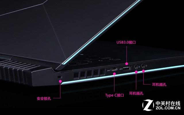 Alienware 15银色 左侧接口图